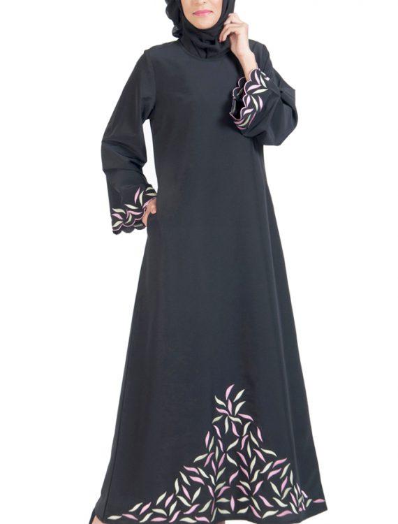 Unique Embroidered Abaya Dress Black