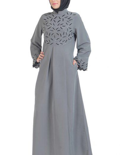 Unique Embroidered Abaya Dress Dark Grey