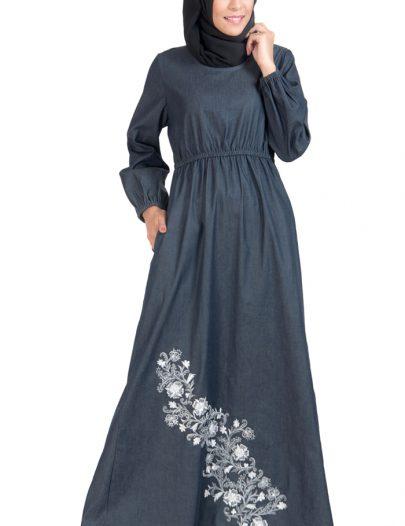 Denim Embroidered Stretch Waist Abaya Dress Black