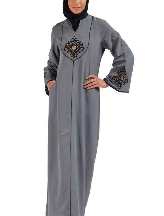 Amani Embroidered Abaya Dress Dark Grey