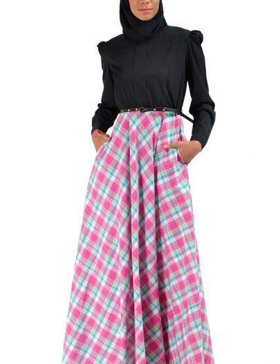 Turkish Pink Plaid Abaya Dress Black Top Black