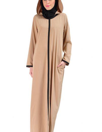 Hooded Crepe Abaya Dress Sand