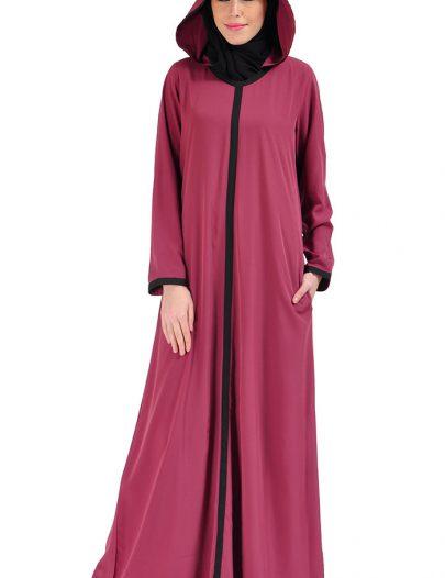Hooded Crepe Abaya Dress Magenta