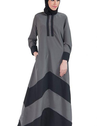 Color Block Basic Abaya Grey & Black