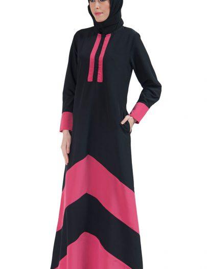 Color Block Basic Abaya Pink