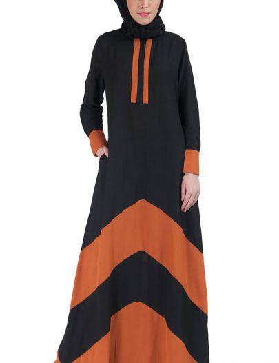 Color Block Basic Abaya Rust