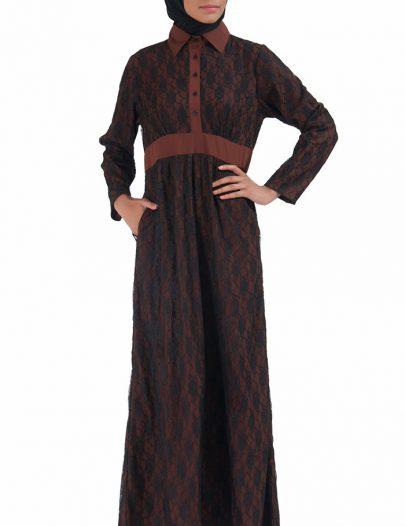 Lace Abaya Dress Brown