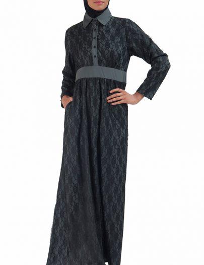 Lace Abaya Dress Grey