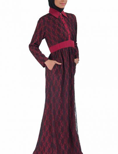 Lace Abaya Dress Maroon