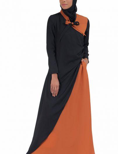 Color Block Bow-Tie Wrap Around Abaya Dress
