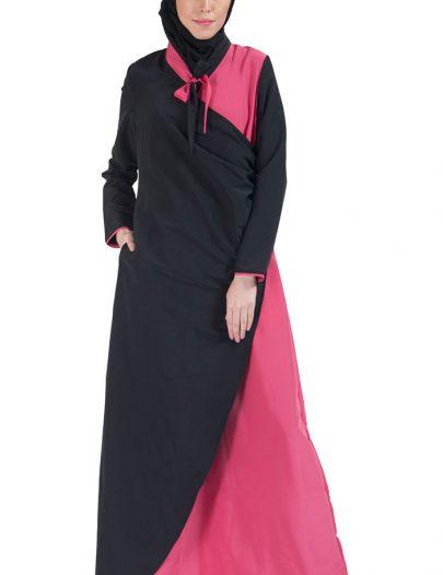 Color Block Bow-Tie Wrap Around Abaya Dress Dark Pink