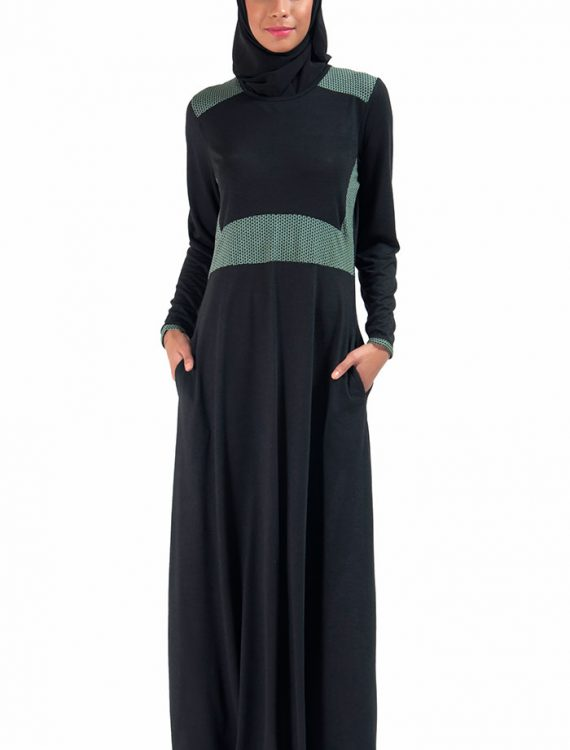 Basic Slip On Knit Abaya Dress Black