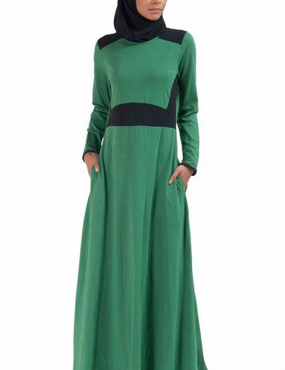 Basic Slip On Color Block Abaya Dress Green