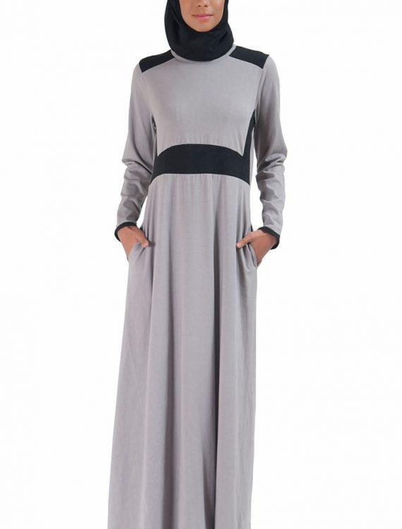 Basic Slip On Color Block Abaya Dress Grey