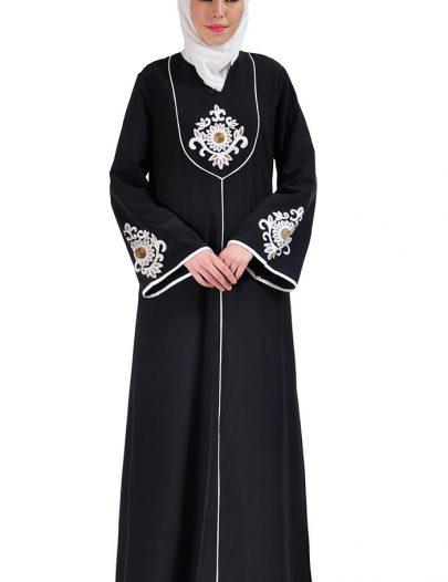 Dalia Embroidered Abaya Dress Black