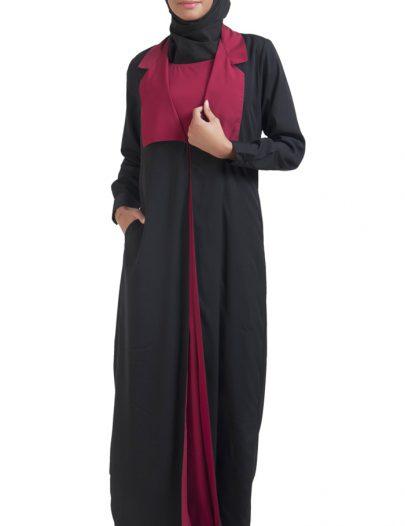 Jacket Style Two Piece Jilbaab Black
