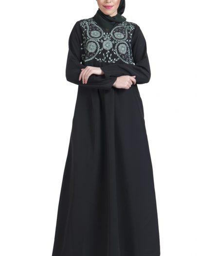 Machine Embroidered Black Kashibo Abaya Dress
