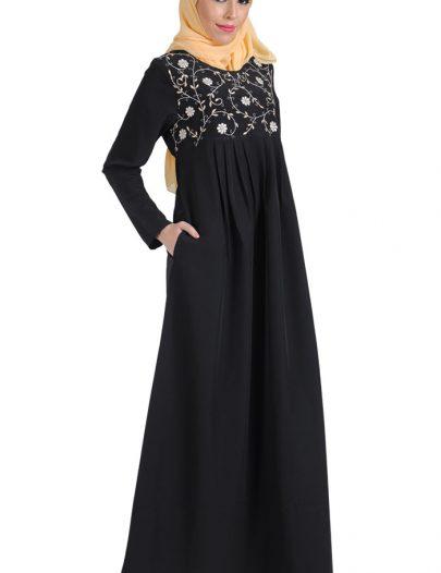 Embroidered Casual Abaya Black
