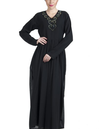 Double Layered Georgette Sequin Hand Embroidered Evening Abaya Dress