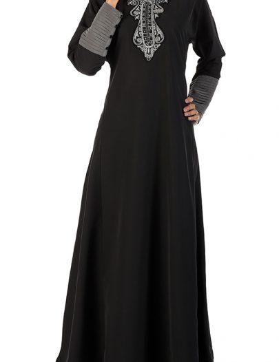 Traditional Grey And Black Abaya Black
