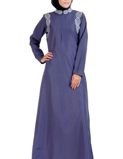 Embroidered High Neck Abaya Dress Violet
