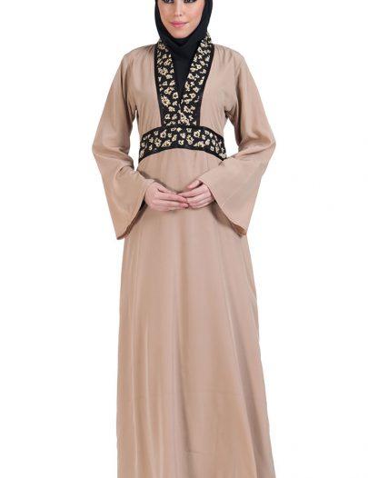 Oriental V-Neck Abaya Dress Black