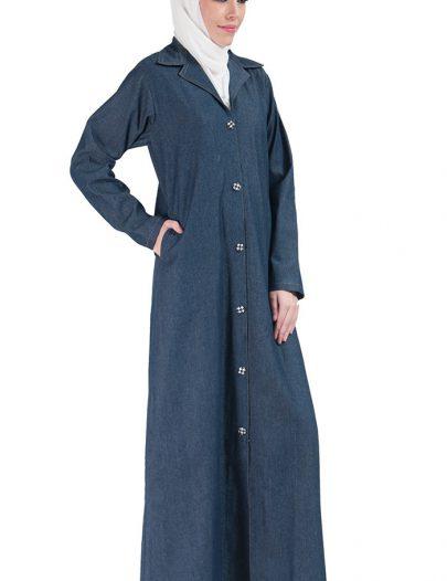 Front Open Jilbab Jacket Blue