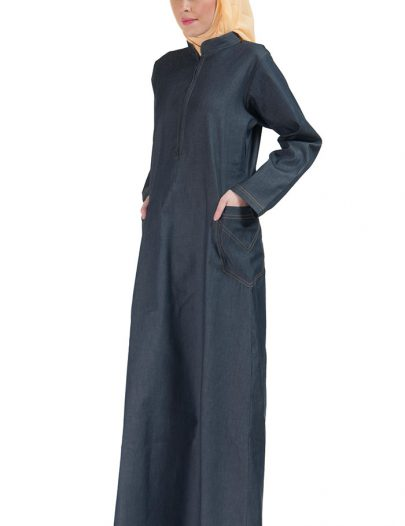 Zipper Front Stretch Denim Abaya Blue