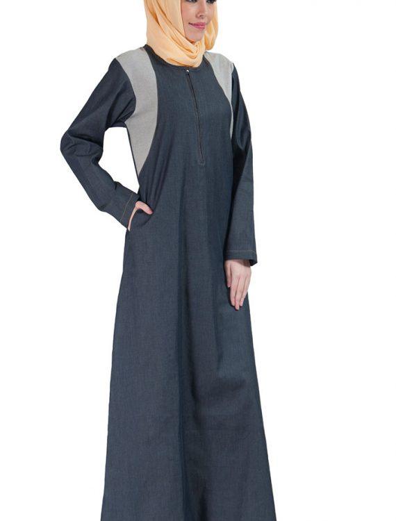 Zipper Front Basic Denim Abaya Blue