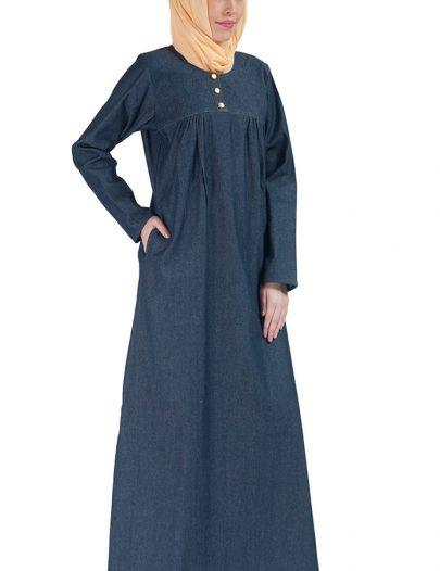 Basic Pleated Denim Abaya Blue