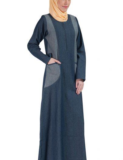 Denim Zipper Front Abaya Dress Blue