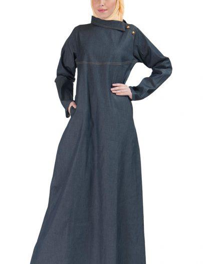 High Collar Denim Stretch Abaya Blue