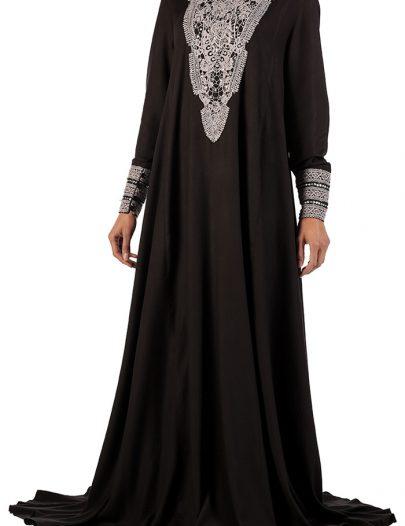 Black Embroidered Rayon Abaya