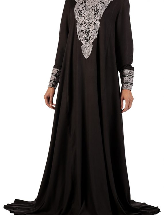 Black Embroidered Rayon Abaya
