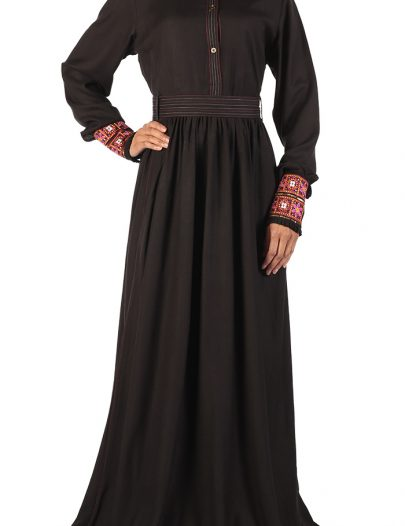 Stitched Rayon Abaya Black