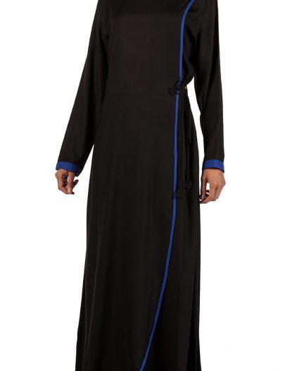 Black Rayon Crisscross Abaya