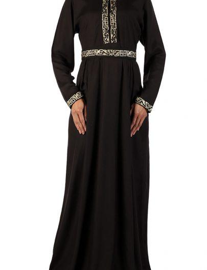 Ethiopian Inspired Belted Abaya Black