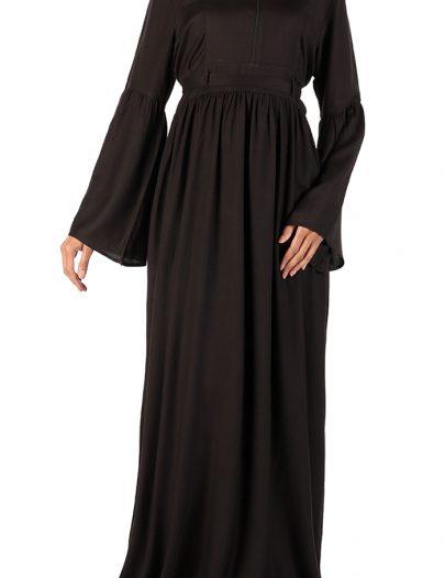 Bazla High Waist Rayon Abaya Black