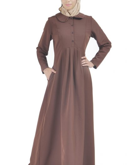 Front Open Traditional Abaya Brown