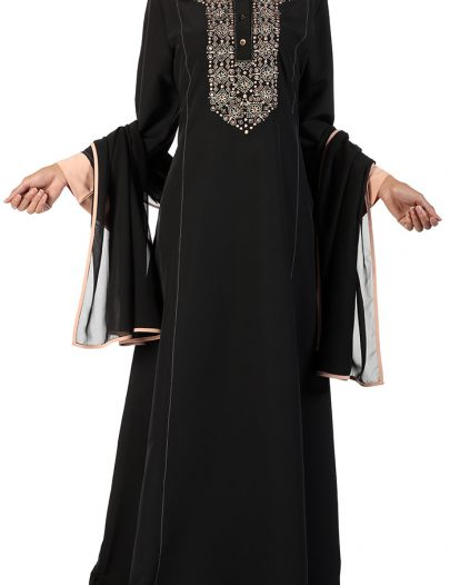 Fancy Peach And Gold Sequin Abaya Black