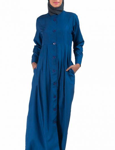 High Neck Kashibo Abaya Monaco Blue