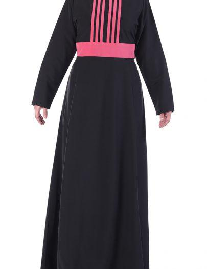Colorful Abaya Dress Black