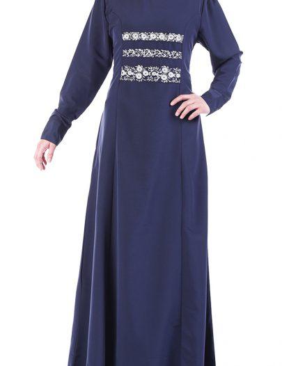 Fancy Navy Abaya Dress Navy