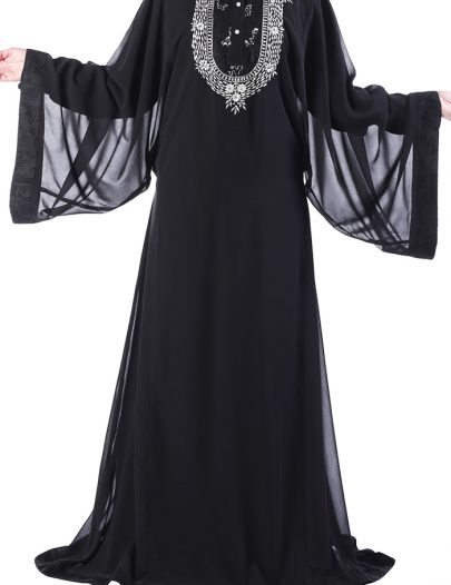 Sequin Abaya Dress Black