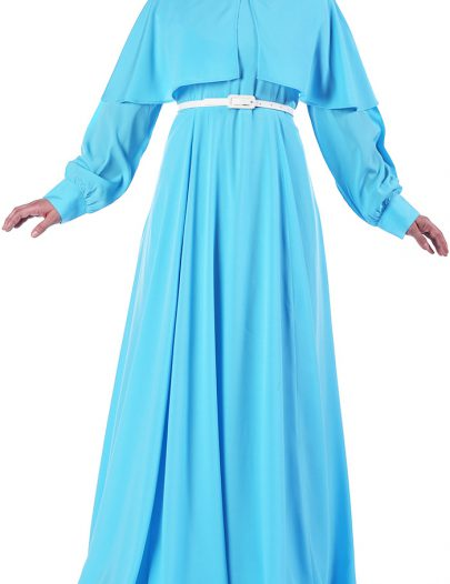 Modest Belted Abaya Dress Light Blue