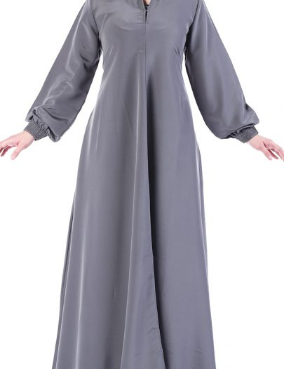 Slip On Abaya Dress Dark Grey