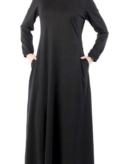 Comfortable Black T- Shirt Abaya Dress Black