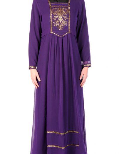 Princess Embroidered Evening Abaya Dress Black