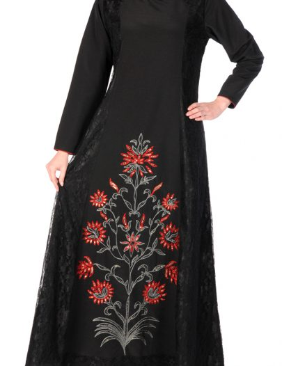 Midnight Floral And Lace Abaya