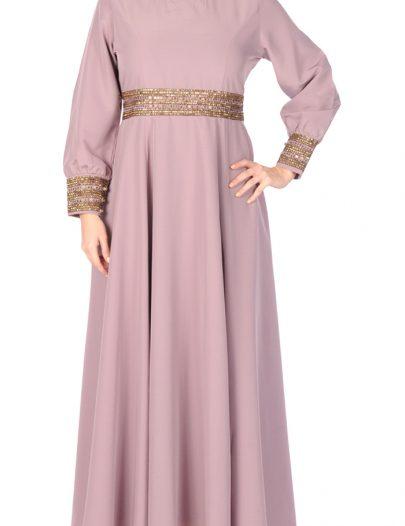 Classy Elegant Evening Dress Abaya Sea Fog